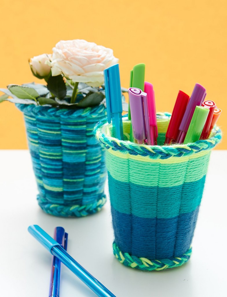 DIY Weaving with Plastic Cups via FaveCrafts