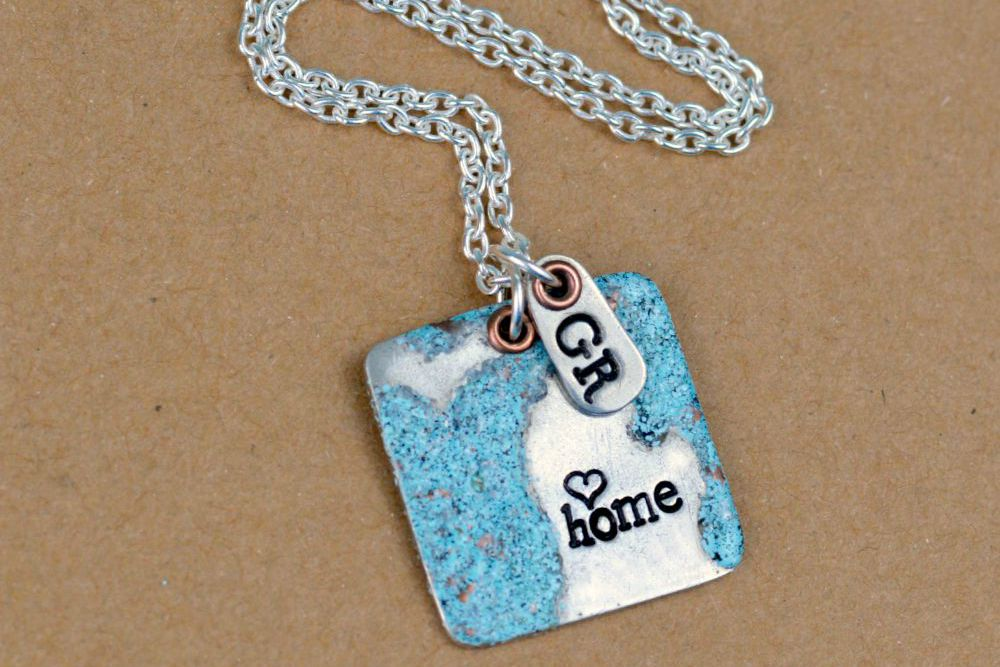 Great Lakes Stamped Necklace