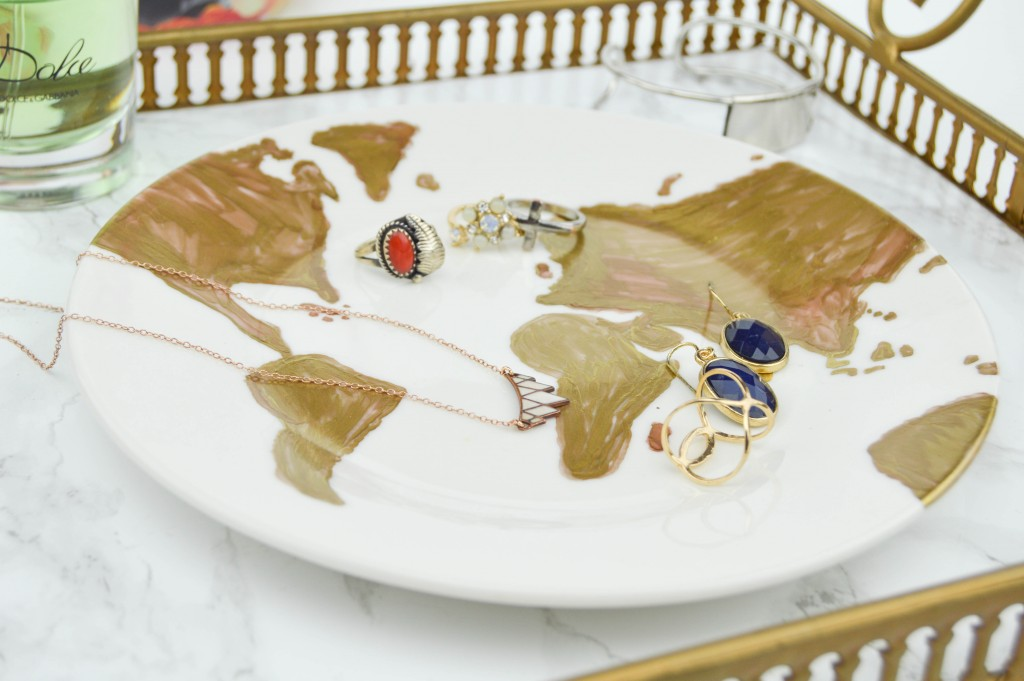 Gold Leaf Map DIY Ring Dish