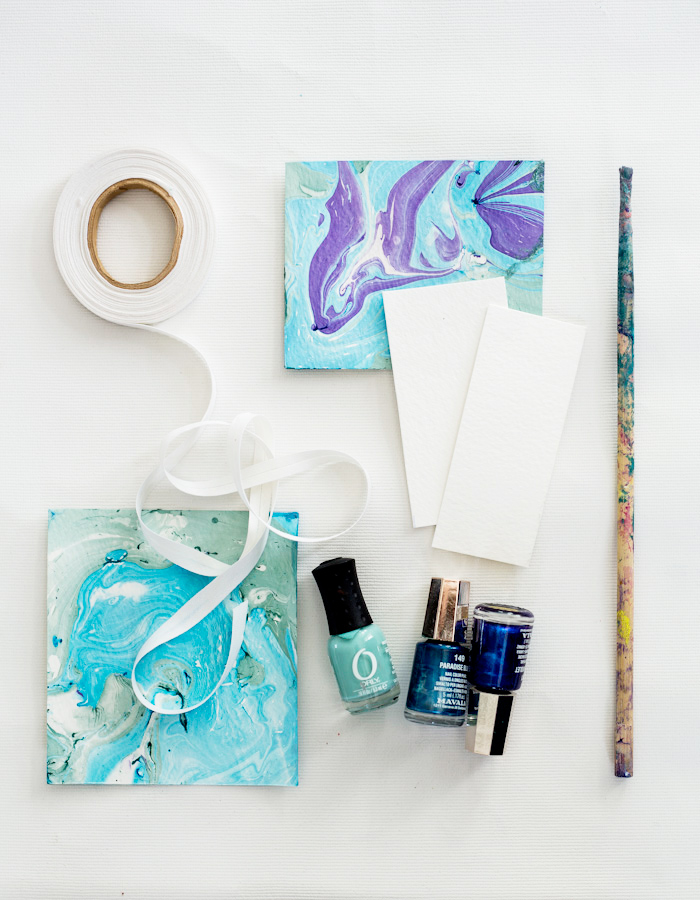 Easy Marbled Cards with Nail Polish