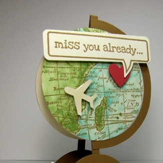 Miss You Globe Card