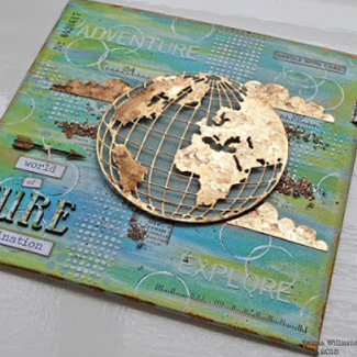 Altered Canvas With Globe