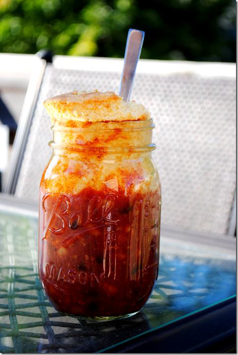 Mason Jar Chili and Cornbread