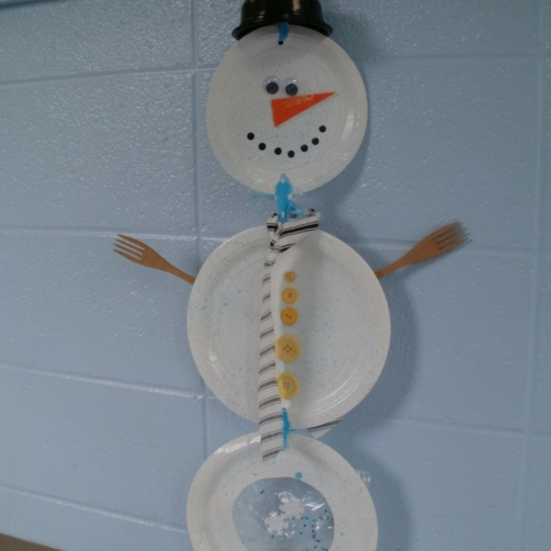 Hanging Paper Plate Snowman