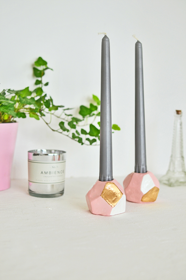 geometric diy candle holders - Diy Candle Holders