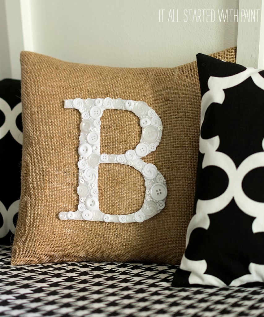 Cute as a Button Monogram Pillow