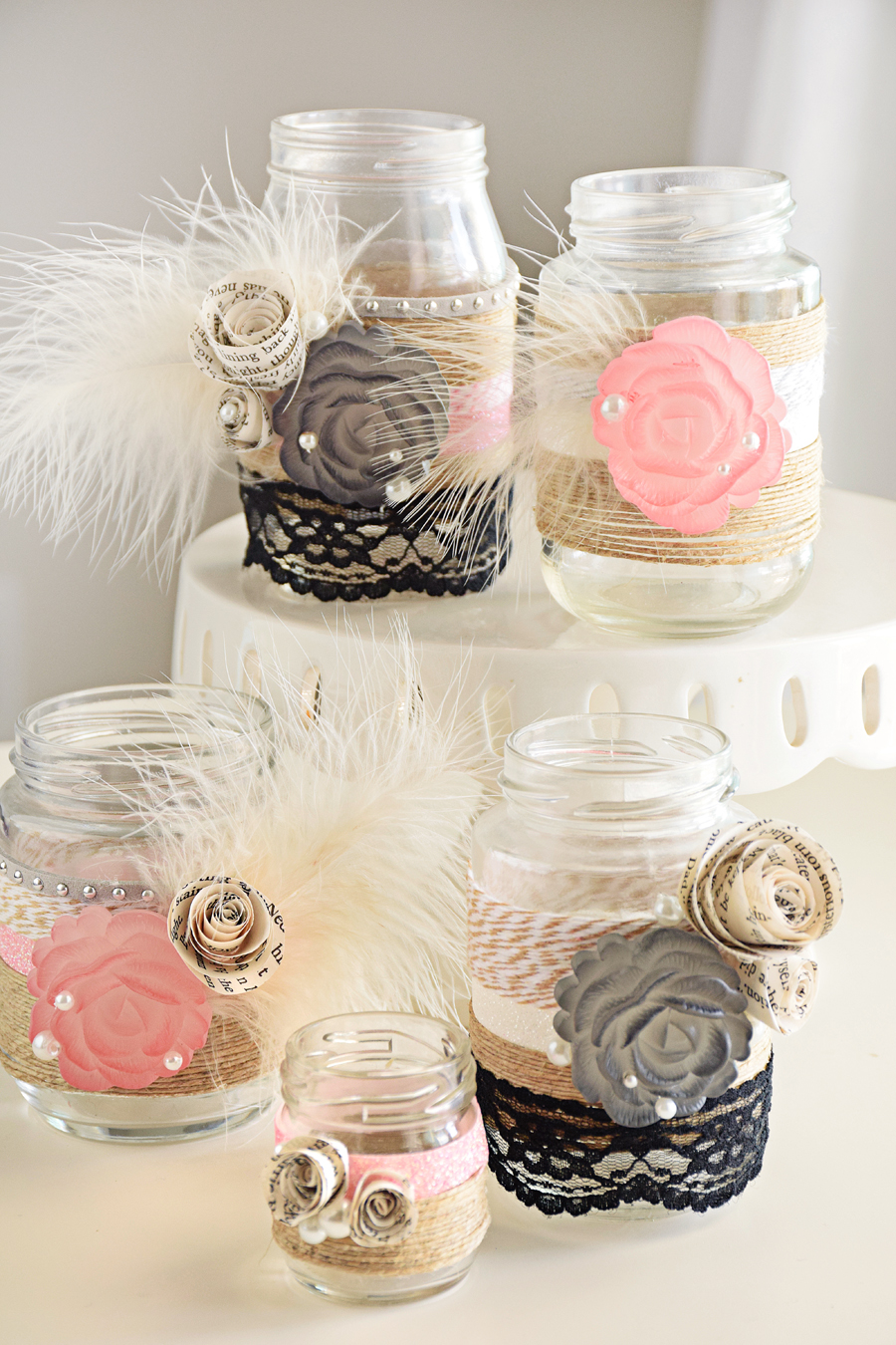 DIY Gatsby\'s Ball Mason Jar Centerpieces - Craft Paper Scissors