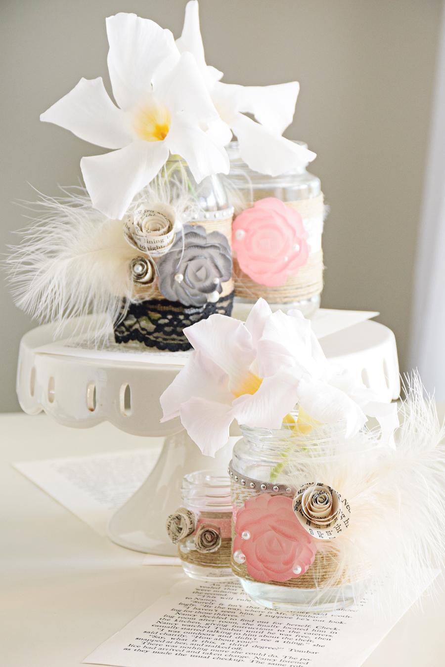 DIY Gatsby\'s Ball Mason Jar Centerpieces - Craft Paper Scissors