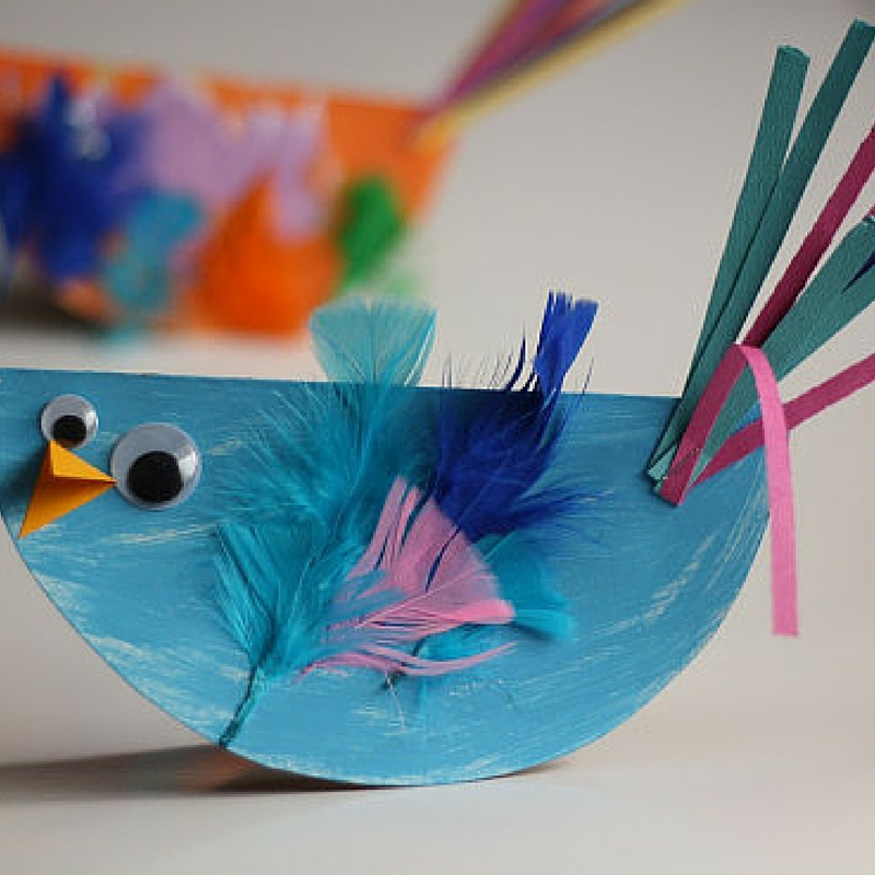 Colorful Paper Plate Birds