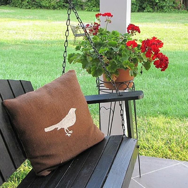 Burlap Bird Throw Pillow