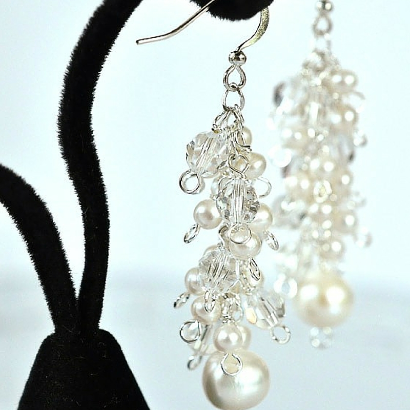 Wintry White Crystal and Pearl Earrings