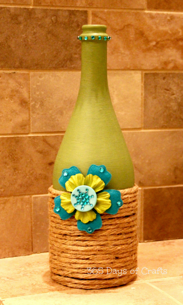 Upcycled wine bottle home decor national craft month for How to make wine bottle crafts