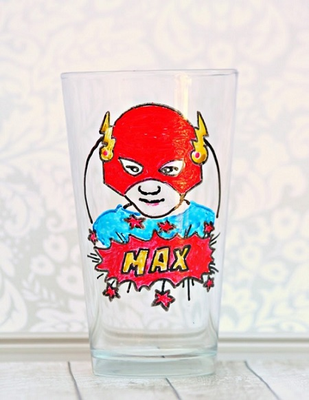 DIY Personalized Superhero Glass