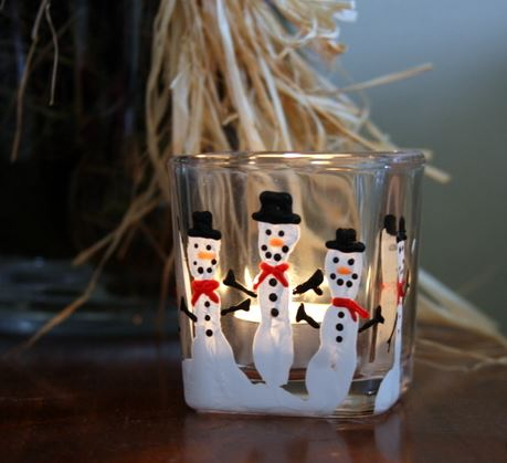 Snowman Fingerprints Candle Holder