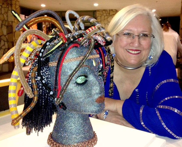 Juanita Finger at the opening of her beaded scuplture, 'Medusa' at Tokay Beaded Art.