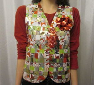 recycled wrapping paper ugly sweater vest its so easy to make diy