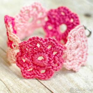 Colorful Crochet Flower Bracelet