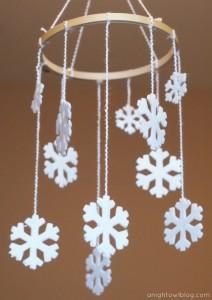 Embroidery Hoop Snowflake Mobile