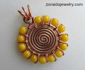 Divine DIY Jewelry: Sunshine Spiral Beaded Wire Pendant