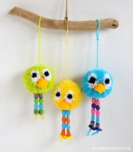 Beaded Birdy Pom Pom Crafts
