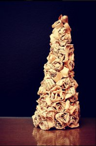 Book Pages Rosette Tree