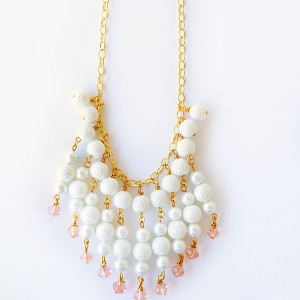 White Waterfall Pearl Necklace