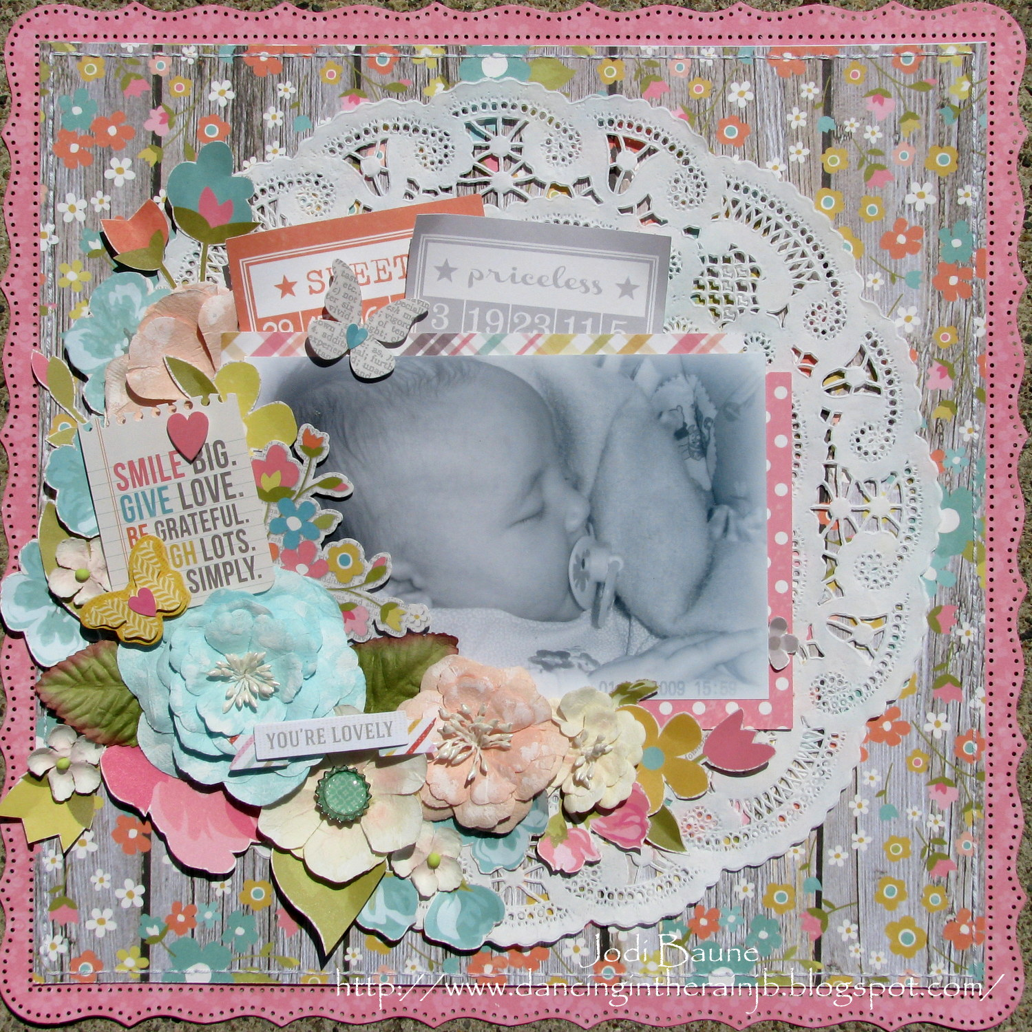 Floral Scrapbook Layout