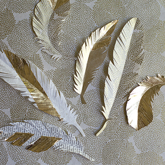 Golden Paper Feathers
