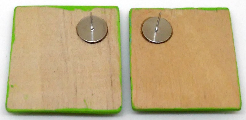 Folk Art Stacked Squares Wood Earrings 2