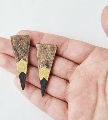 Wooden Dagger Earrings