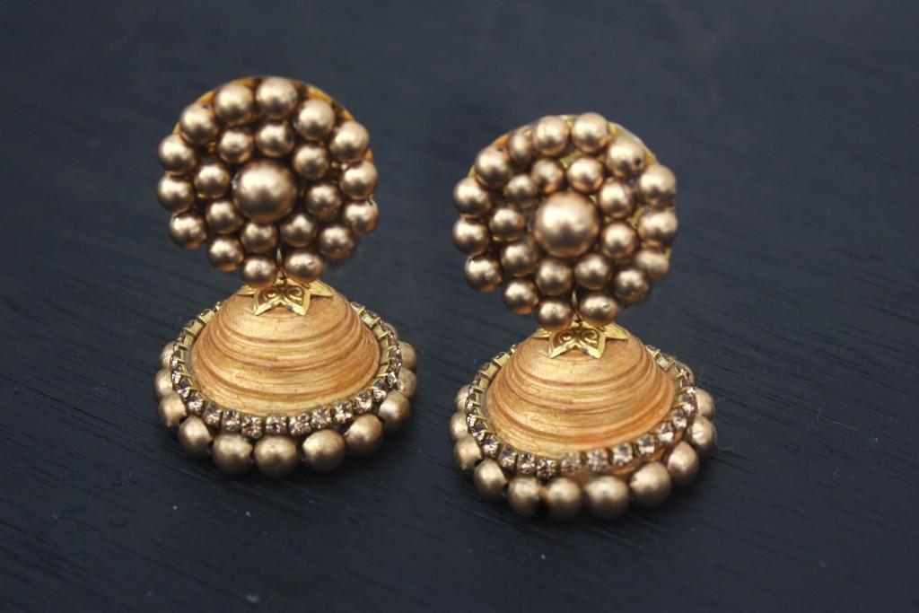 DIY Gold Jhumka Earrings