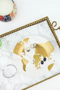 DIY Gold Leaf Map Ring Dish