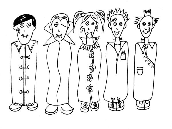 Halloween Zombies Printable Coloring Page