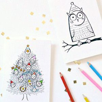 Fill In The Color Christmas Cards
