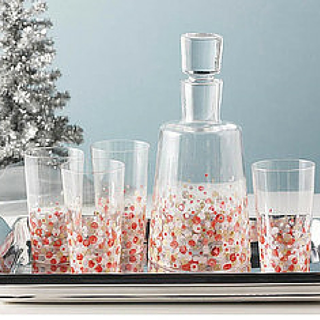Festive Hand Painted Holiday Glassware