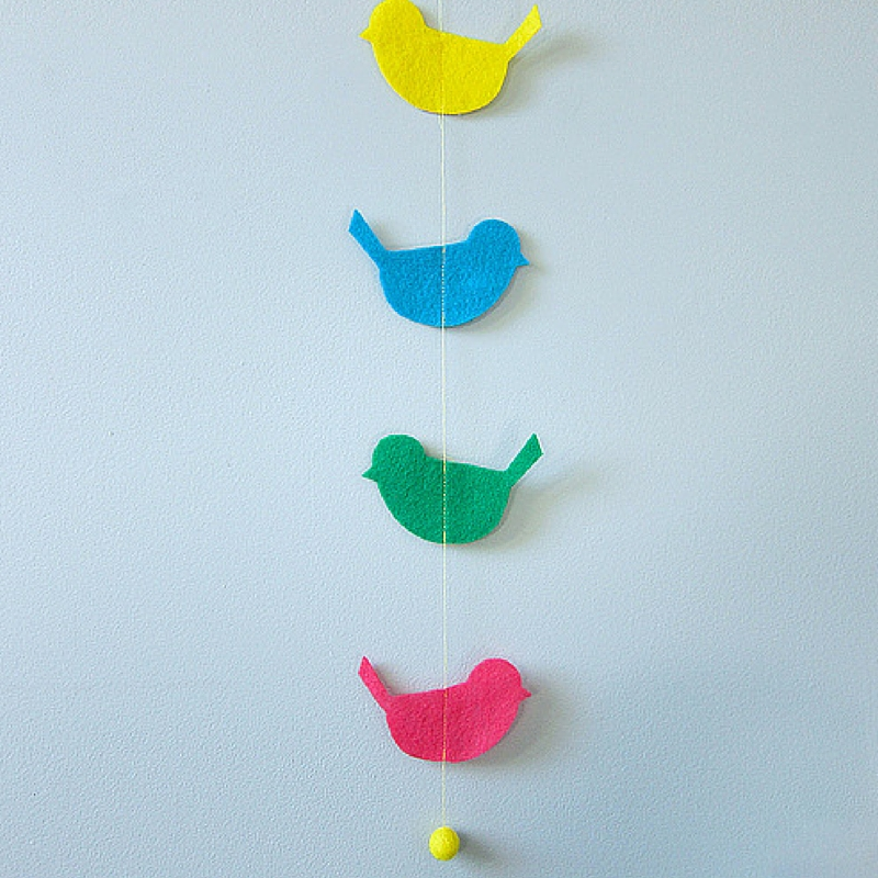 Hanging Birdies Garland Craft Paper Scissors