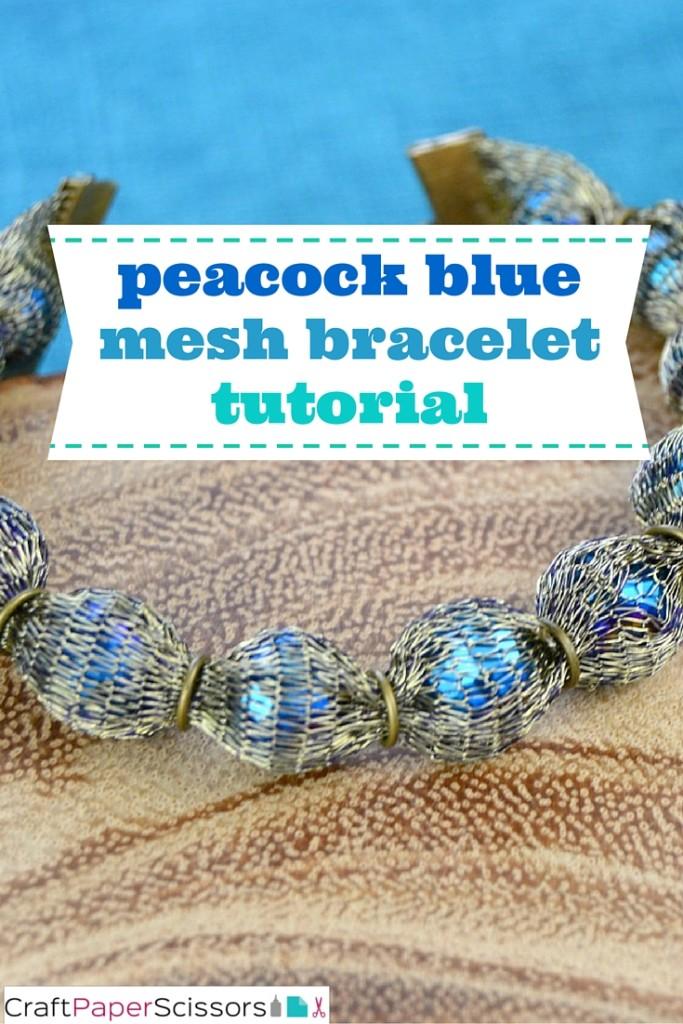 peacock blue mesh bracelet