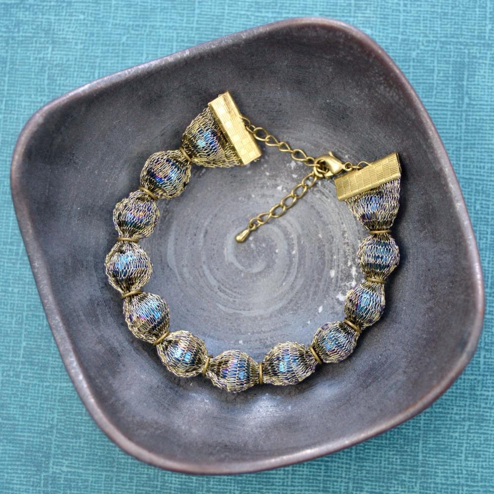 Peacock Blue Mesh Bracelet 3