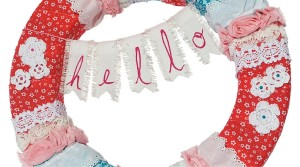 "Fabric and Trim ""Hello"" Wreath"