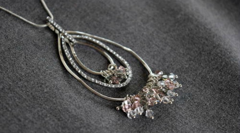 Pear Necklace with Swarvoski Crystals