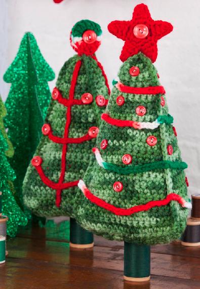 Crocheted Christmas Tree Duo