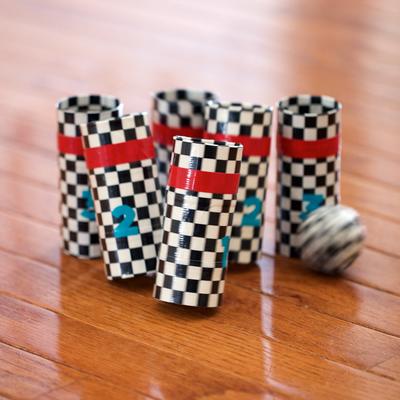 Checkered Bowling Pins and Ball