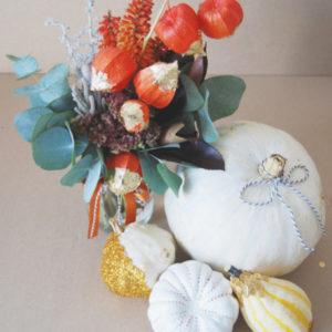 Rustic Flowers and Pumpkin Wedding Centerpiece