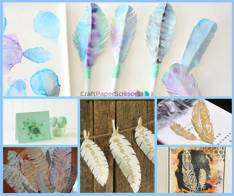 6 Paper Feather Crafts Collage