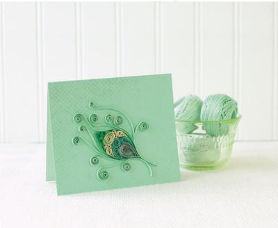 Pistachio Peacock Feather Card