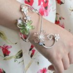 Flowers and Pearls Wrap Bracelet