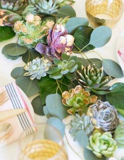Gold Leaf Succulents Bohemian Wedding Centerpiece