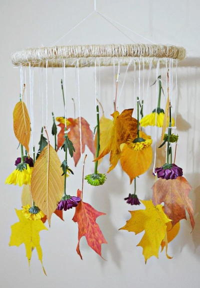 Fall Leaves and Flower Mobile