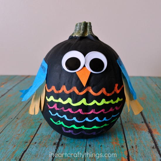 Colorful Owl Halloween Pumpkin Ideas