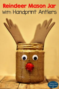 Reindeer Mason Jar with Handprint Antlers